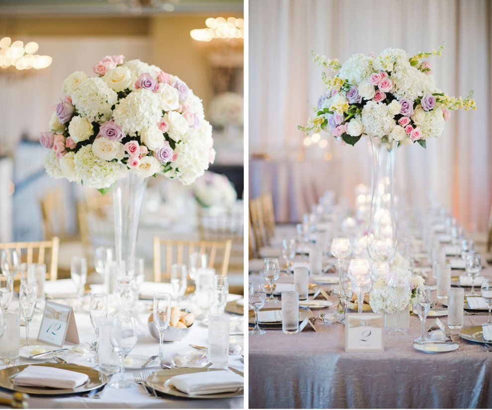 Tall Pink Cream And Lilac Rose And Hydrangea Centerpieces On
