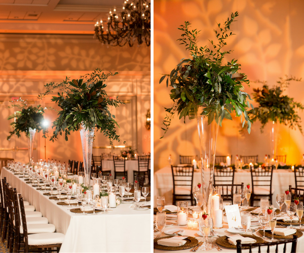 Ballroom Wedding Reception Decor With Tall Greenery Centerpieces In