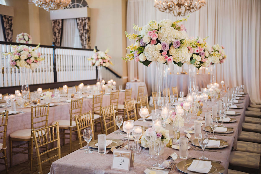 Elegant Wedding Reception Decor With Pink Cream And Lilac Rose And