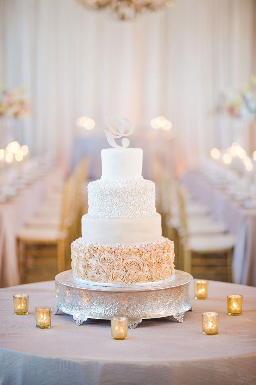 Four Tier Round Champagne and Gold Wedding Cake with Rosebud Pattern ...