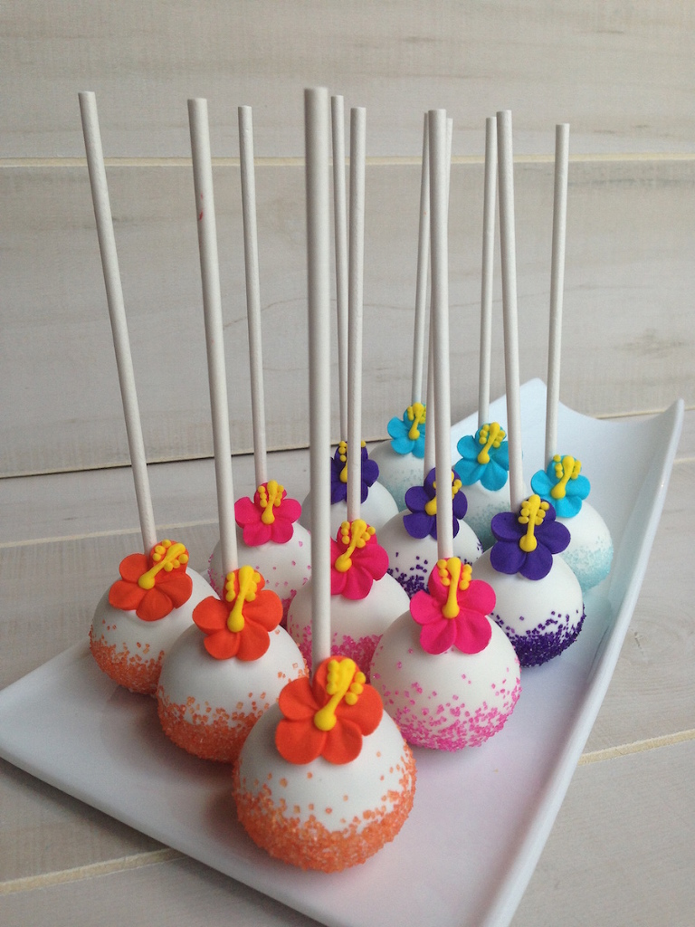 tropical bridal shower and wedding rehearsal dinner cake pop favors with hibiscus flower tampa bay