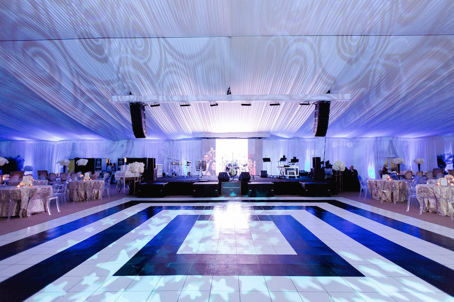 Ybor City Outdoor Tented Wedding with Black and White Dance Floor | Fuente Cigar Wedding | Tampa Wedding Photographer Ailyn La Torre Photography