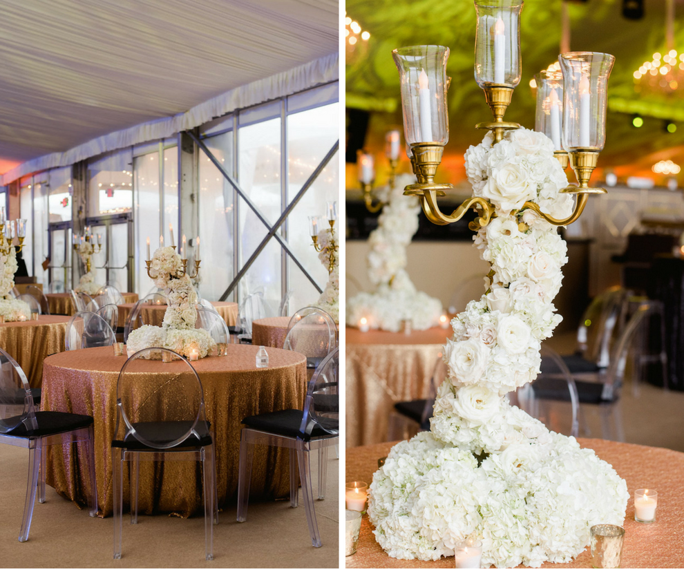 Elegant Luxury White Wedding Candelabra Centerpieces with Flowers Wrapped | Sequined Speciality Linens and Ghost Chairs | Tampa Wedding Florist Andrea Layne Floral Designs