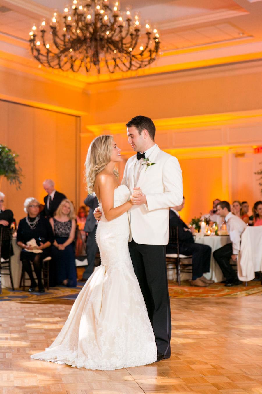 Bride and Groom First Dance at Wedding Reception   Tampa Wedding Venue Tampa Marriott Waterside