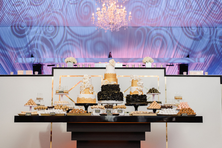 Beautiful Black and Gold Wedding Reception Cake and Dessert Table Details | Tampa Wedding Photographer Ailyn La Torre Photography