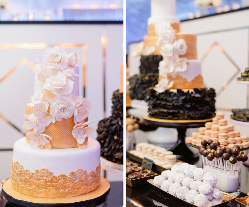 Three Tier Round White and Gold Wedding Cake with Fondant Floral Design | Black and Gold Wedding Reception Cake and Dessert Table Details | Tampa Wedding Photographer Ailyn La Torre Photography