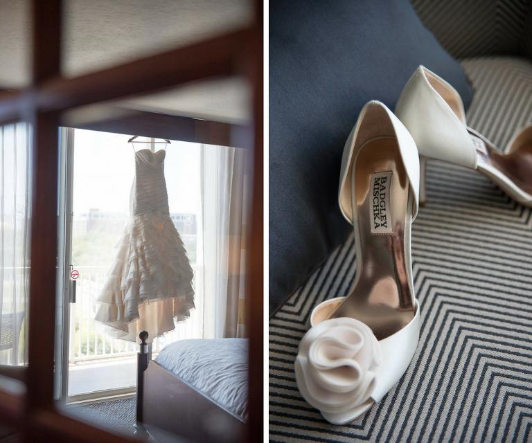 Ivory, Strapless Mikaella Wedding Dress with Ruffled Skirt and White Badgley Mischka Bridal Shoes