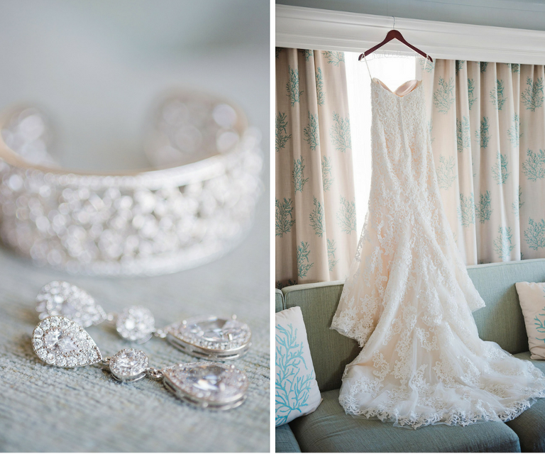 Bridal Jewelry: Diamond Teardrop Earrings with Diamond Cuff and Chapel Train Sottero and Midgley Lace Wedding Dress | Tampa Wedding Photographer Marc Edwards Photographs