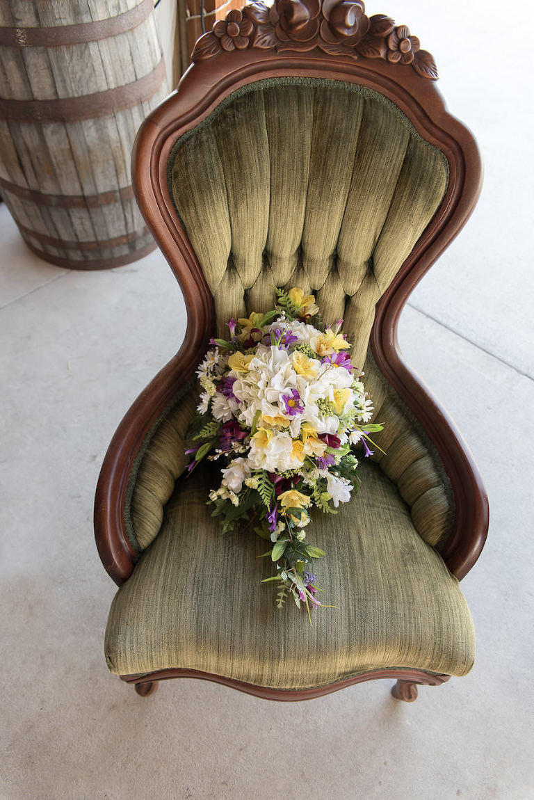 White, Yellow, and Purple Floral Wedding Bridal Bouquet of Flowers