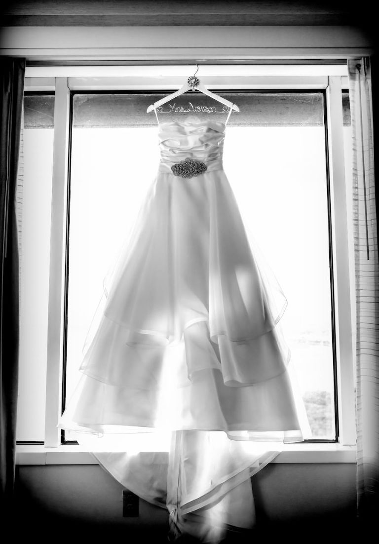 White, Strapless Mikaella Bridal Wedding Dress with Crystal, Rhinestone Sash and Custom Last Name Wedding Hanger