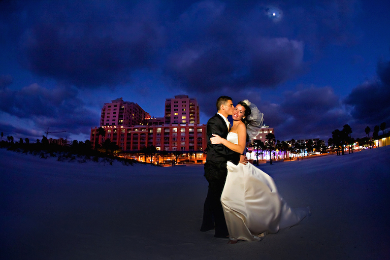 Twilight Wedding Portrait on Beach of Bride and Groom |Tampa Bay, Clearwater Waterfront Wedding Venue | Hyatt Regency Clearwater Beach