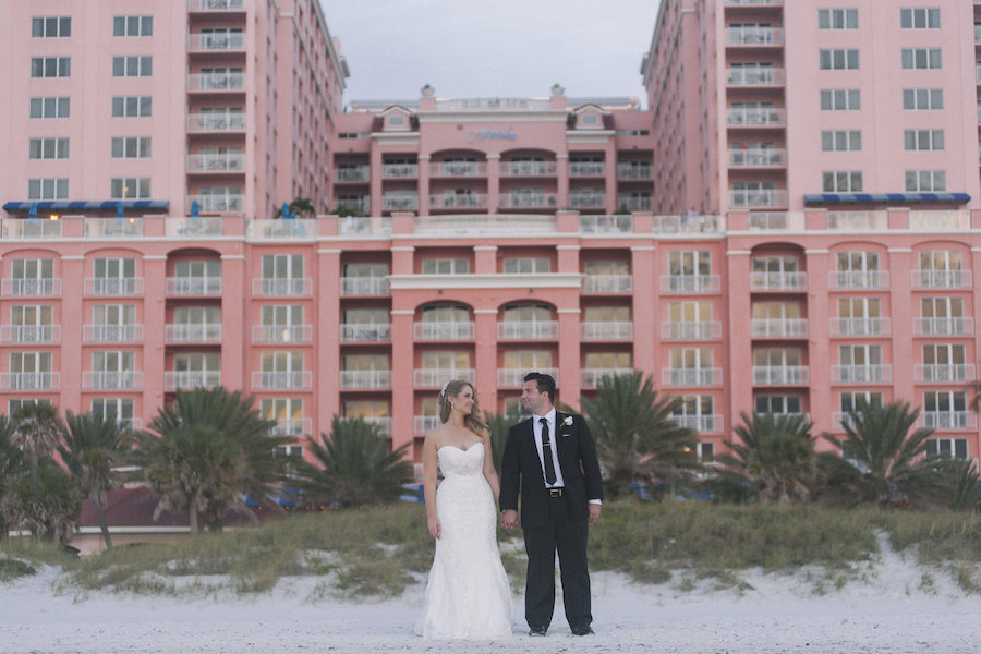 Outdoor Beach Wedding Portrait of Bride and Groom |Tampa Bay, Clearwater Waterfront Outdoor Wedding Venue | Hyatt Regency Clearwater Beach