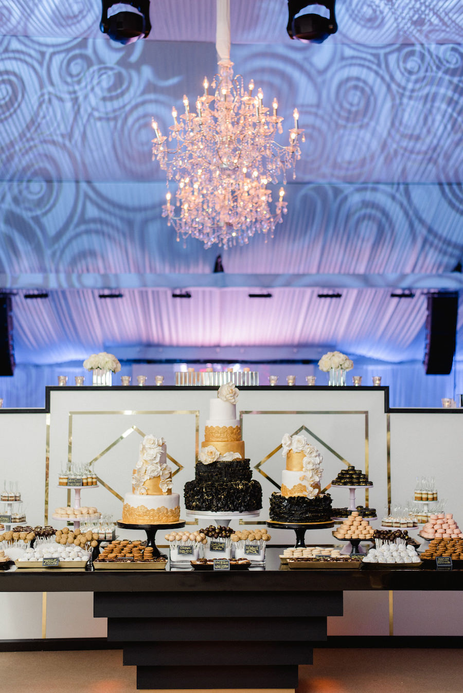 Black and Gold Wedding Reception Cake and Dessert Table | Downtown Tampa Wedding Photographer Ailyn La Torre Photography