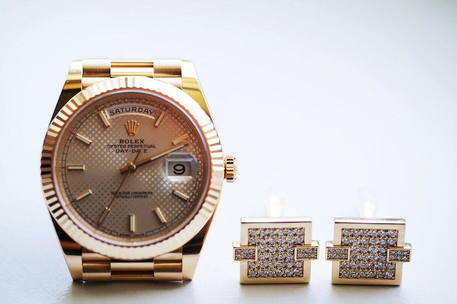 Gold Rolex with Gold and Diamond Cufflinks Groom Wedding Accessories Wedding Portrait   Luxury Groom Gifts   St. Pete Wedding Photographer Limelight Photography