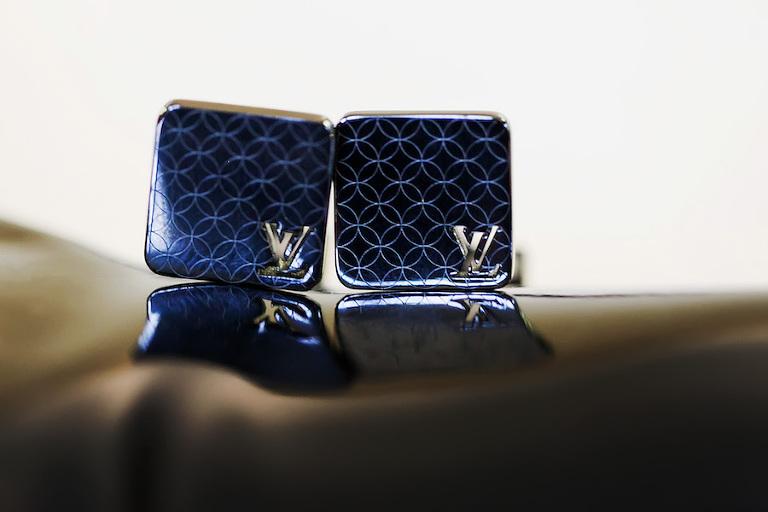 Louis Vuitton Blue Groom's Wedding Day Cuff Links