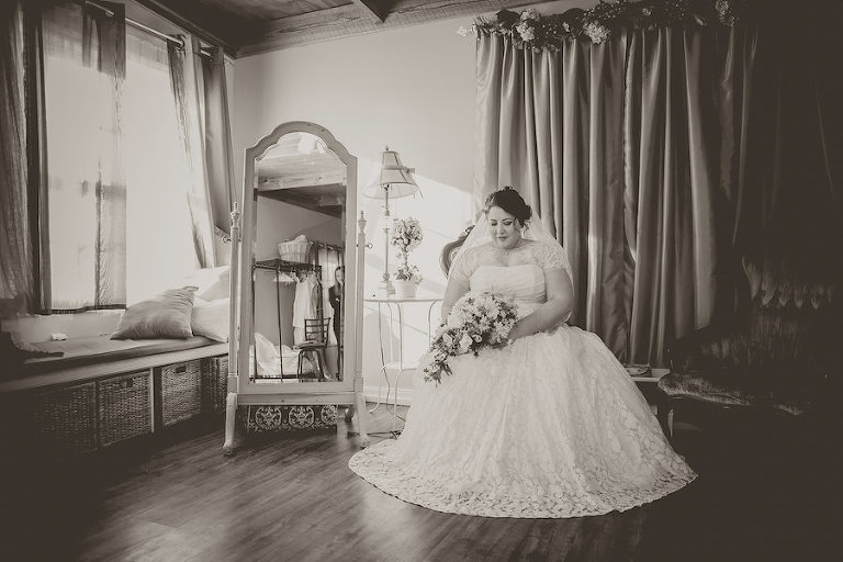 Indoor, Bridal Wedding Portrait in Ivory, Lace Wedding Dress