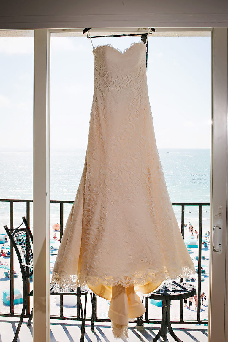 Ivory, Lace, Strapless Wedding Dress with Sweetheart Neckline