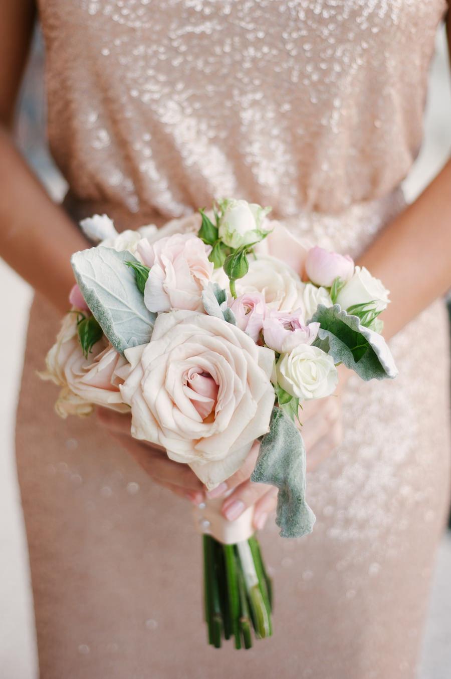 Champagne Gold Sequin Sorella Vita Bridesmaids Dress With Blush Pink