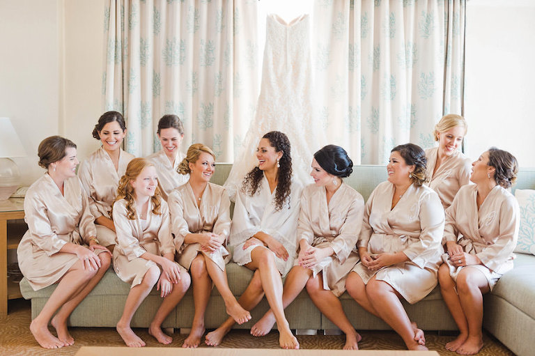 Bridal Party Getting Ready In Champagne Silk Satin Monogrammed Robes Wedding Portrait| Tampa Wedding Photographer Marc Edwards Photographs