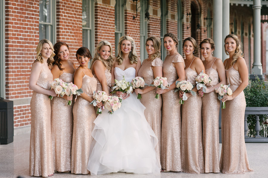 b904a41d Bridal Party Portrait| Champagne Gold Sequin Sorella Vita Bridesmaids Dress  with Blush Pink and Ivory Rose Wedding Bouquet | Ivory Hayley Paige  Ballgown ...