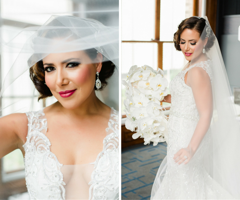 Liana Fuente of Arturo Fuente Cigars Bridal Wedding Portrait in Beaded Ines DiSanto Wedding Dress with Cascading White Orchid Bouquet | Downtown Tampa Wedding Photographer Ailyn La Torre Photography | Wedding Dress from Isabel O'Neil Bridal
