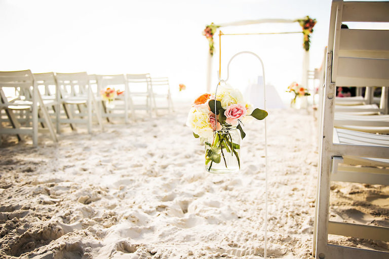 Ivory and Pink Wedding Ceremony Aisle Flowers in Glass Jar Vase and Shepard Hook at Hilton Clearwater Beach Wedding Ceremony | Clearwater Wedding Florist Iza's Flowers