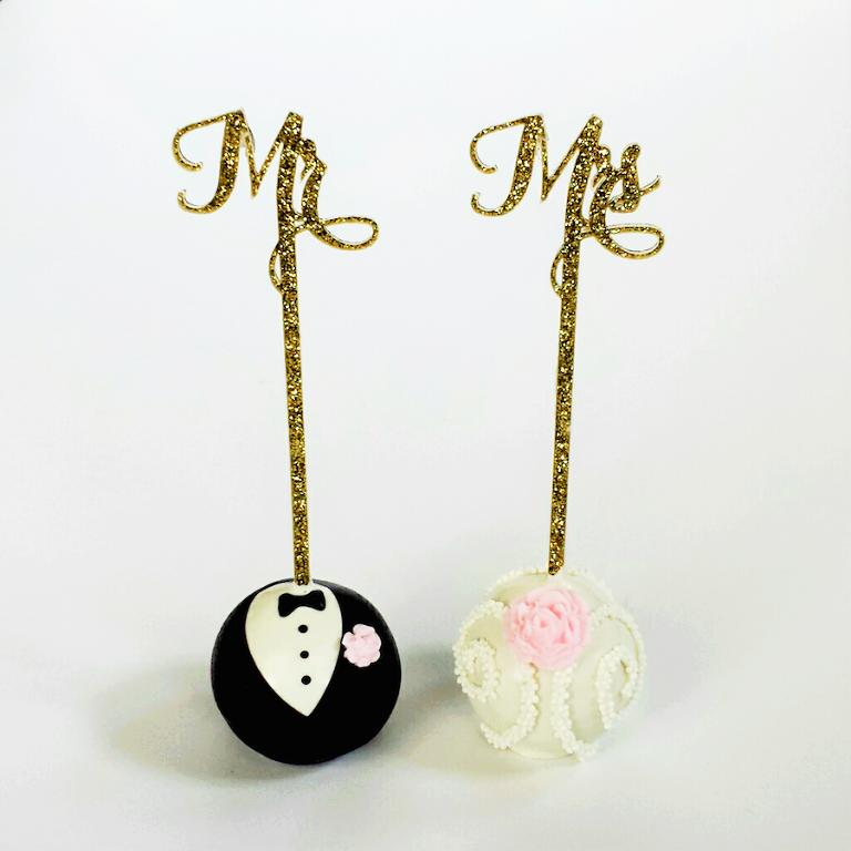 Mr & Mrs Custom Wedding Cake Pops | Custom Cake Pop Wedding Dessert Favors in Tampa Bay by Sweetly Dipped Confections