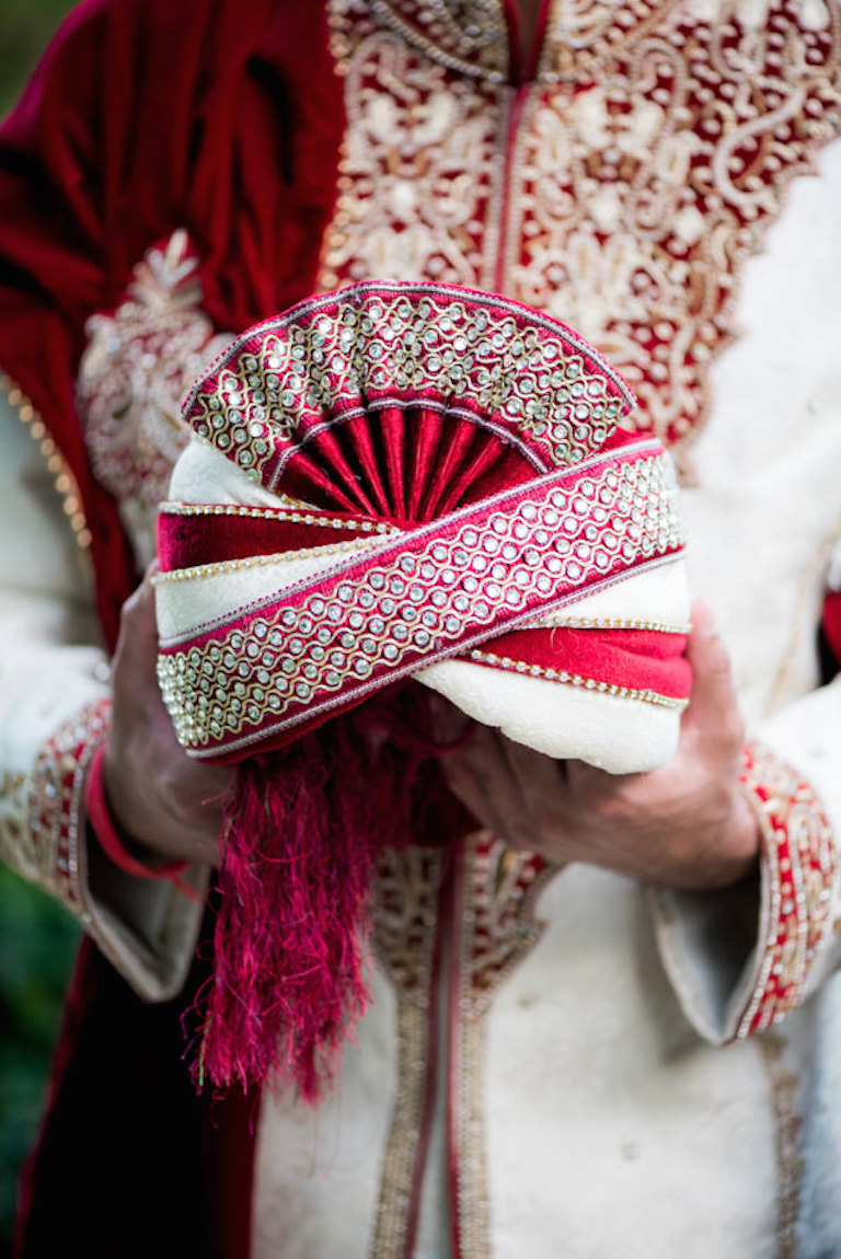 Indian Groom Wedding Portrait in Red and White Sherwani at The Palmetto Club at Fishhawk Ranch Wedding Venue in Tampa Bay
