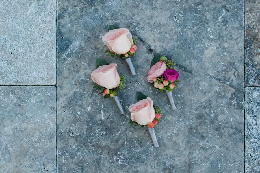 Pink Rose Groom and Groomsmen Wedding Boutonnieres
