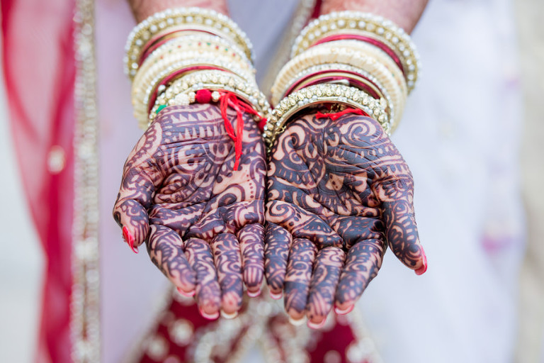 Indian Bridal Henna Wedding Portrait with Red, Gold and White Panetar