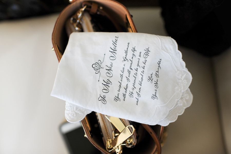 Future Mother In Law Handkerchief Gift From the Bride in Black Script Font on White Handkerchief