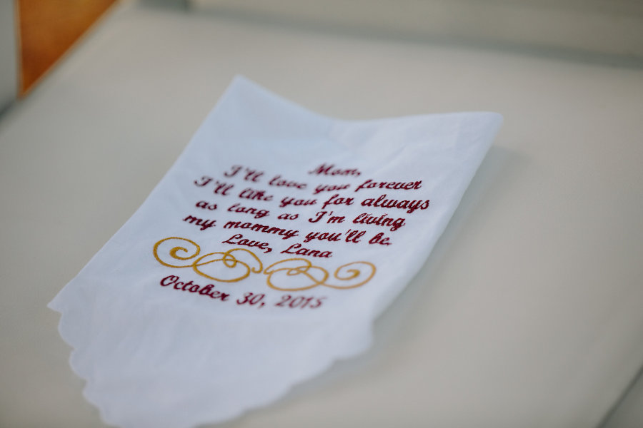 Personalized Embroidered Handkerchief for Mom from Bride