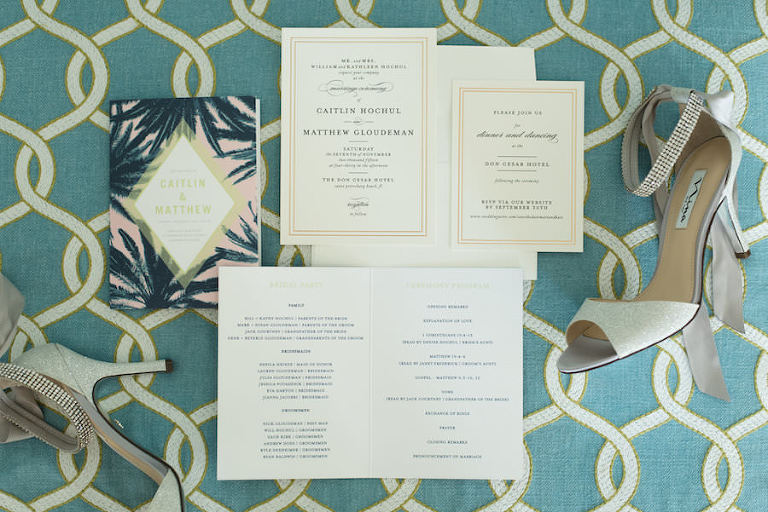 Gold, White, Palm Tree Wedding Invitation Stationary for St. Pete Beach Wedding