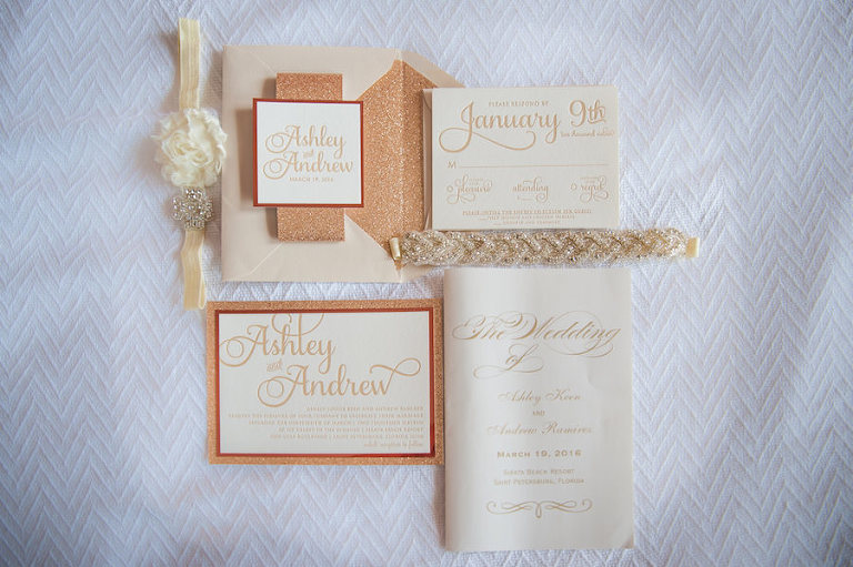 Rose Gold and Ivory Letterpress Invitation Suite by Juniper and Juno | St. Petersburg Wedding Photographer Castorina Photography