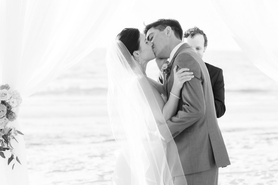 Bride and Groom First Kiss as Husband and Wife at St. Pete Wedding Ceremony