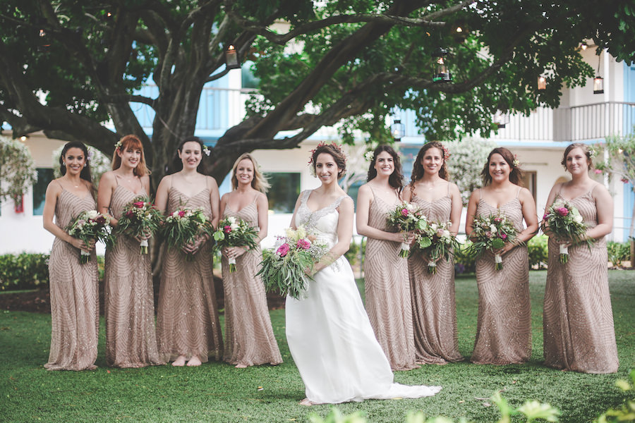 Bride and Bridesmaids, Outdoor Wedding Portrait in Gold, Sequin, Beaded Adrianna Papel Bridesmaids Dresses and Green, Pink, And Ivory Floral Bouquets