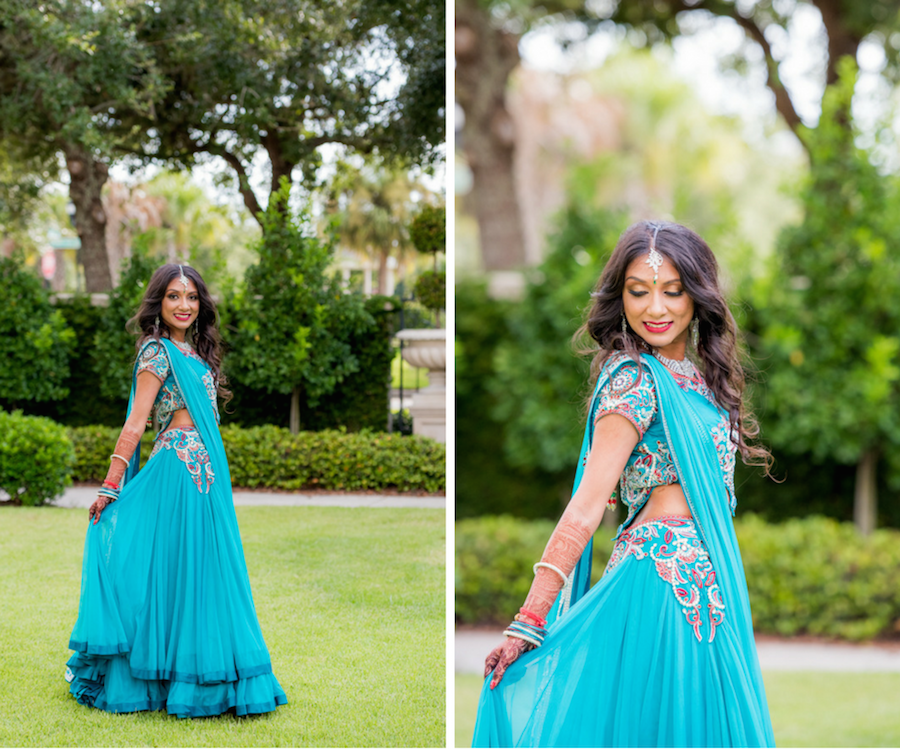 Indian Bridal Wedding Portrait in Teal, Red and Pearl Sari   Tampa Bay Wedding Hair and Makeup Artist Michele Renee The Studio