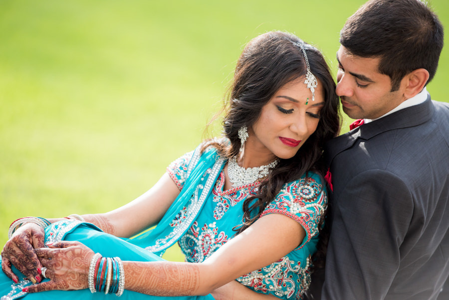 Bride and Groom Outdoor Tampa Bay Indian Wedding Portrait with Bride in Teal Sari   Wedding Hair and Makeup Artist Michele Renee The Studio