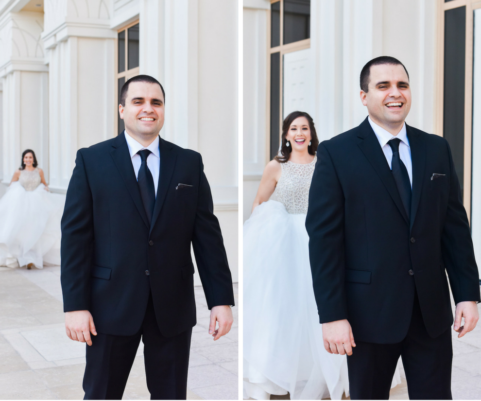 Florida Bride and Groom First Look Wedding Portrait | Florida Wedding Hair and Makeup Artist Michele Renee The Studio
