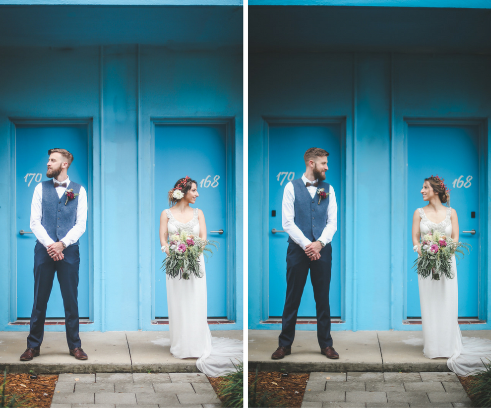 Outdoor, St. Pete Bride and Groom Wedding Portrait in Blue Groom's Suit and Beaded Anna Campbell Wedding Dress