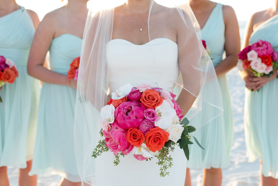 Bridal Wedding Portrait in Strapless, White Vera Wang Wedding Dress and Pink, Orange, and White Floral Wedding Bouquet
