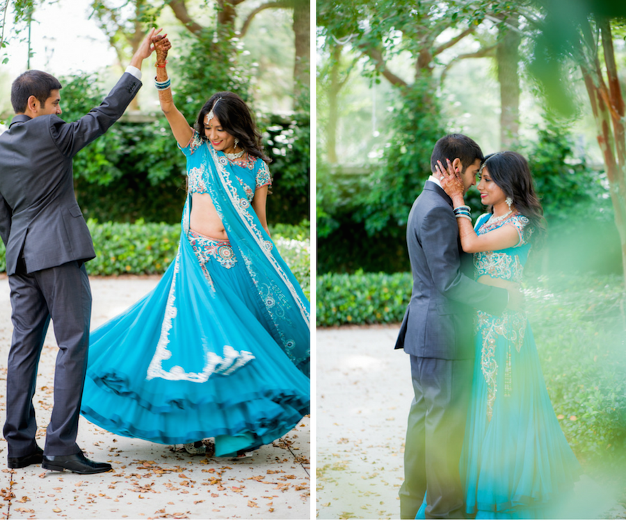 Bride and Groom Outdoor Tampa Bay Indian Wedding Portrait at The Palmetto Club at Fishhawk Ranch with Bride in Gold and Teal Sari   Wedding Hair and Makeup Artist Michele Renee The Studio