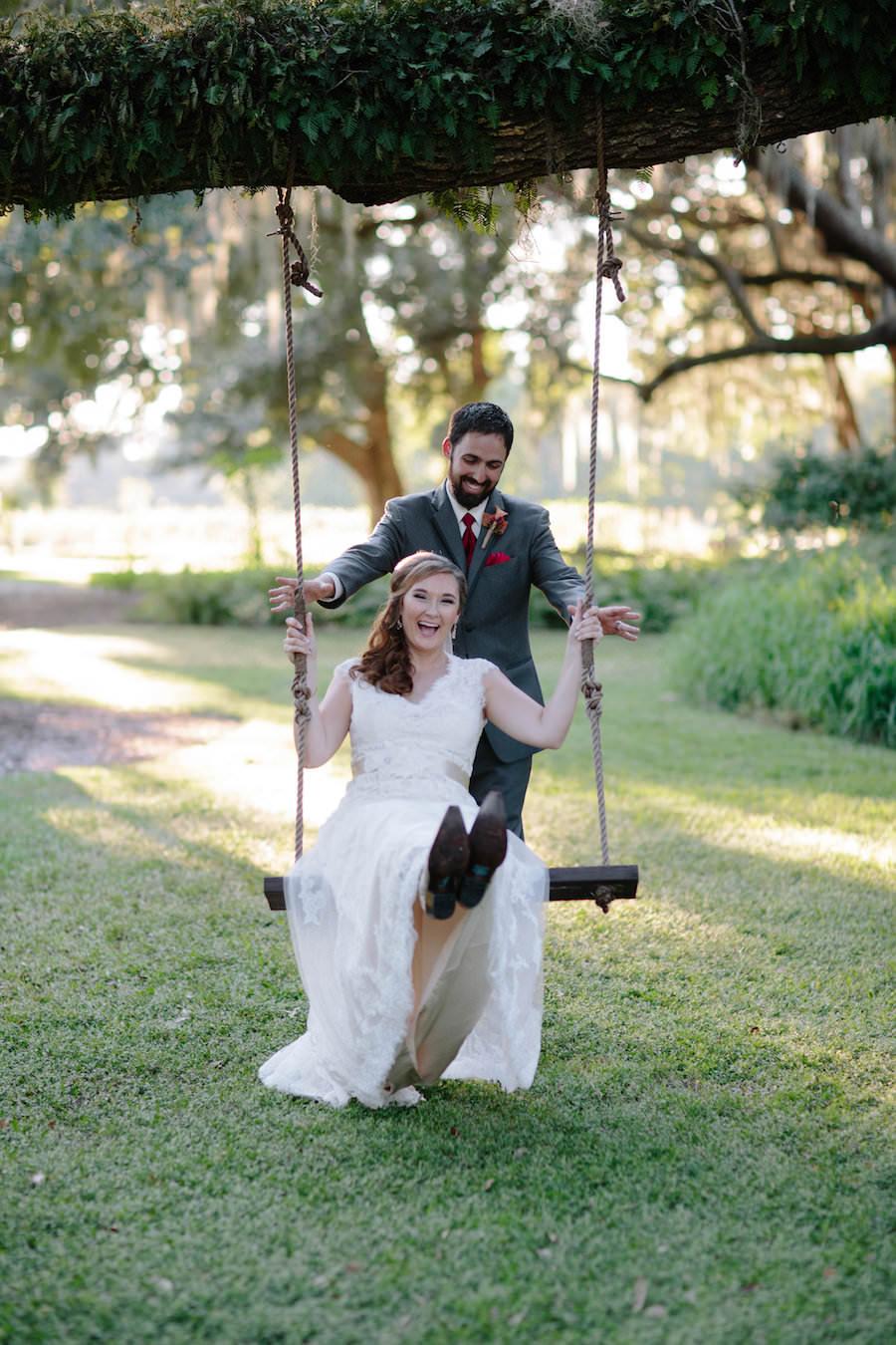 Outdoor, Dover Bride and Groom Wedding Portrait on Tree Swing