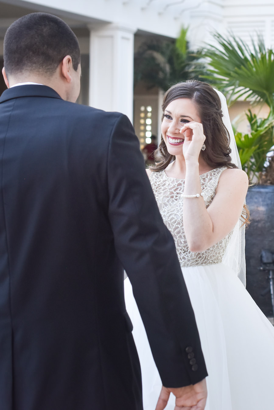 Clearwater Beach Bride and Groom First Look Wedding Portrait | Clearwater Wedding Hair and Makeup Artist Michele Renee The Studio