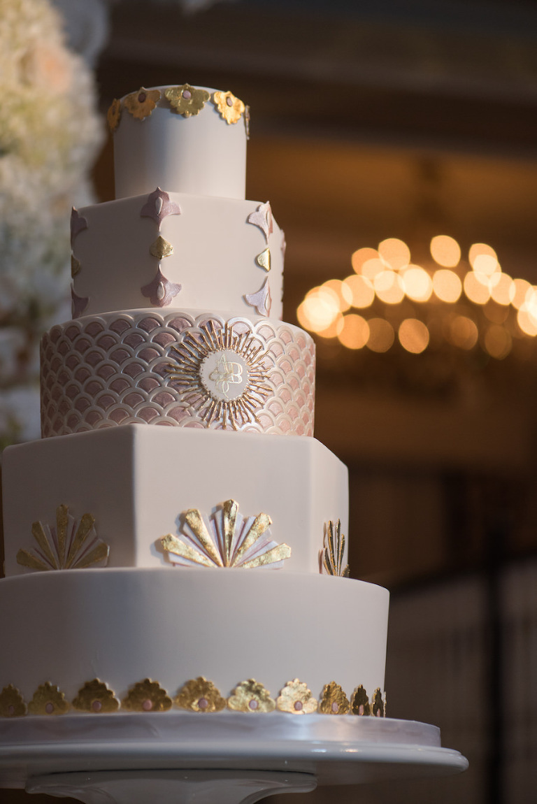 Five Tiered Great Gatbsy Roaring 20s Inspired Wedding Cake with Gold Rose Gold and Silver Accents | Tampa Wedding Cakes and Desserts Hands on Sweets
