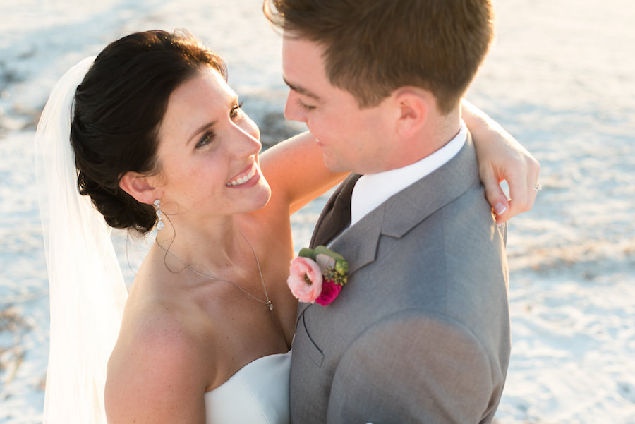 Waterfront, Beach Wedding Portrait of Bride and Groom at St. Pete Wedding