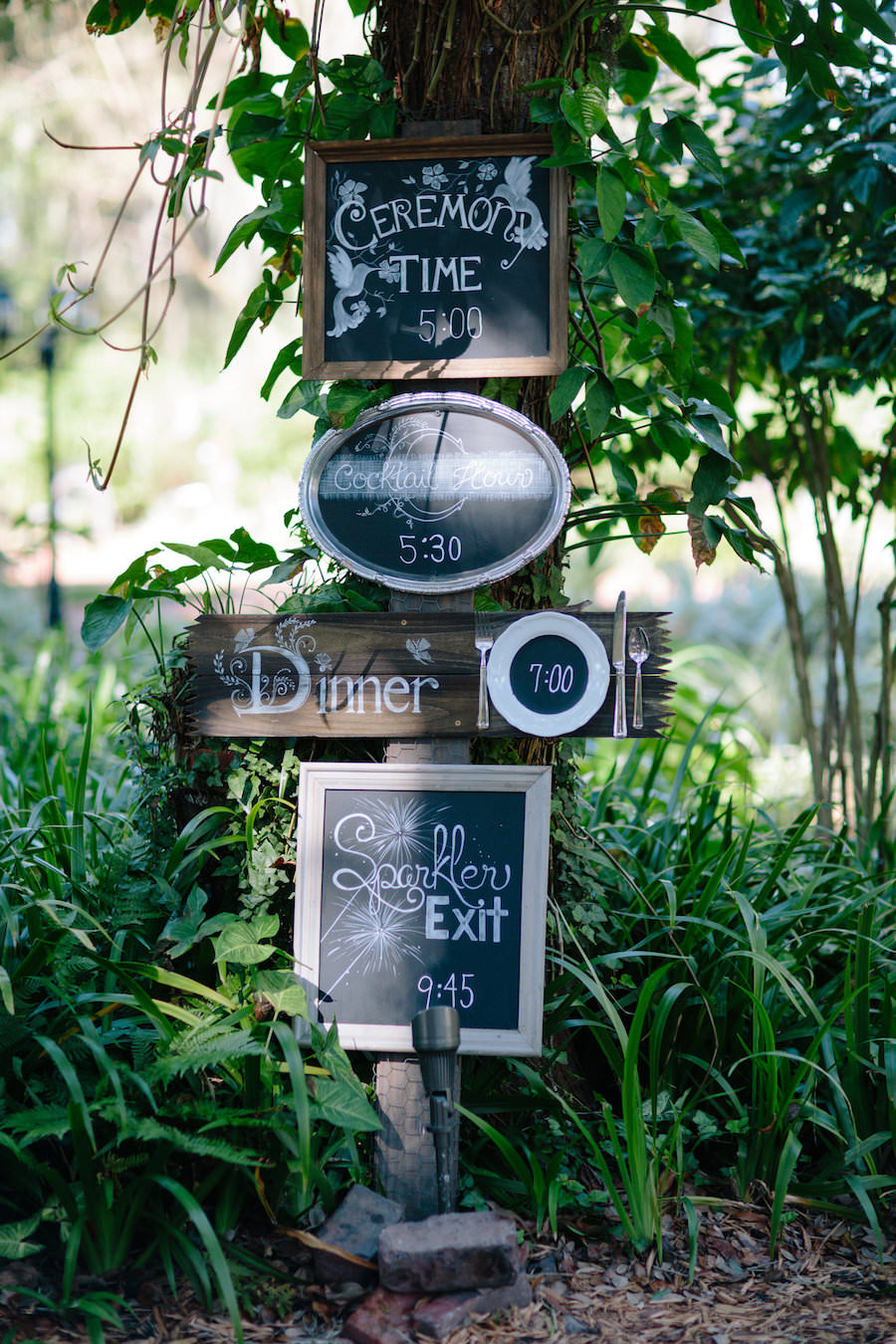 Chalkboard Wedding Ceremony and Reception Time Signs at Dover Wedding