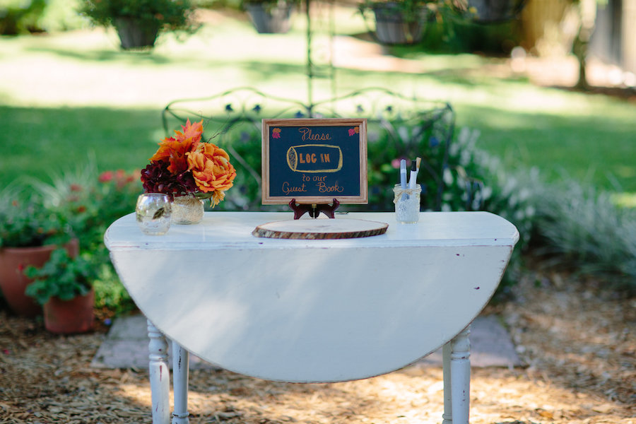 Guest Sign in Table on Wooden Slab at Dover Wedding Reception