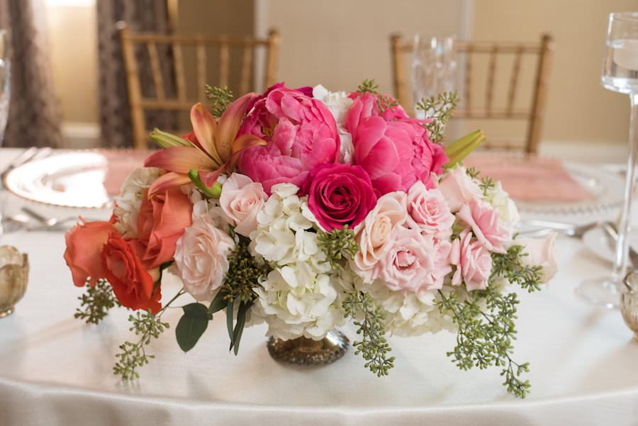 Pink, Orange, and Ivory Floral Wedding Centerpiece at St. Pete Wedding Reception