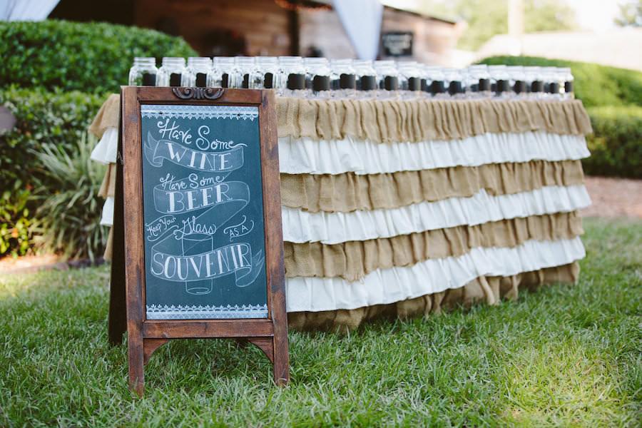 Mason Jar Drink Table at Dover Wedding Reception